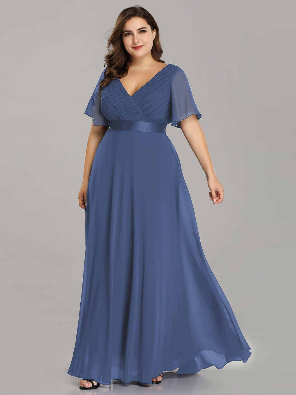 Billie flutter sleeve bridesmaid dress in dusky navy s10 Express NZ wide