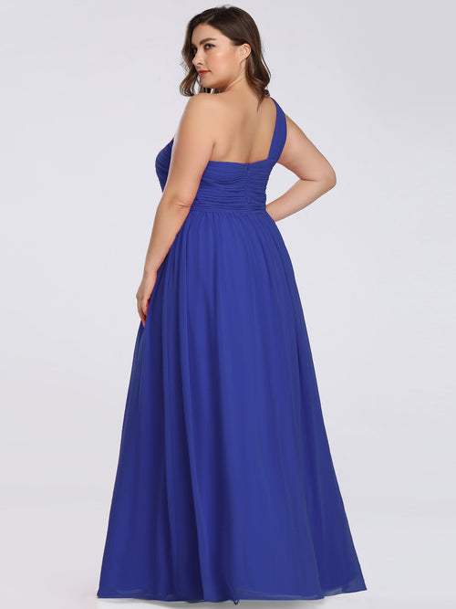 India one shoulder chiffon bridesmaid dress in sapphire blue s20-Bay Bridesmaid