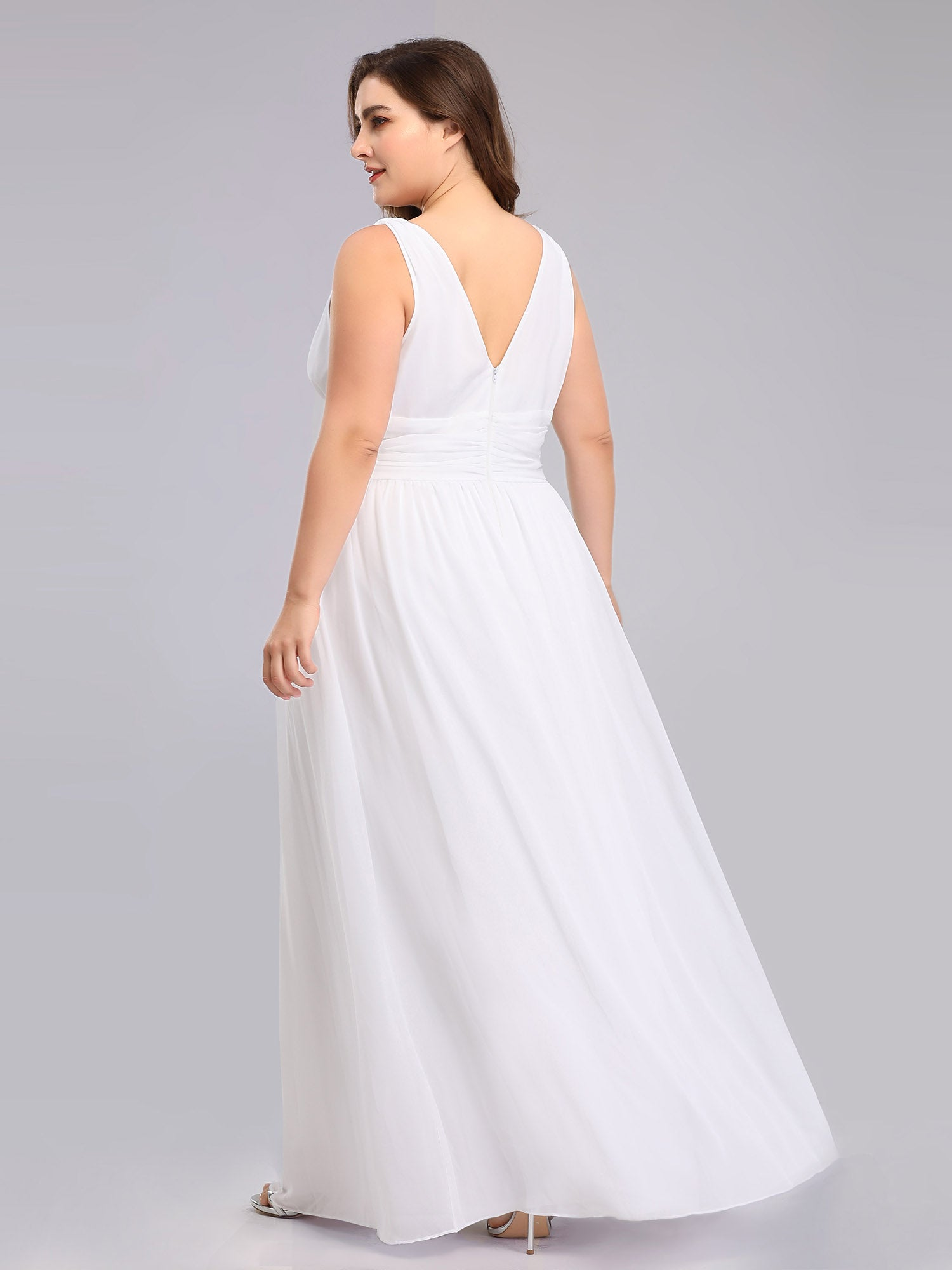 Veda V neck and back classic chiffon wedding dress in white-Bay Bridesmaid