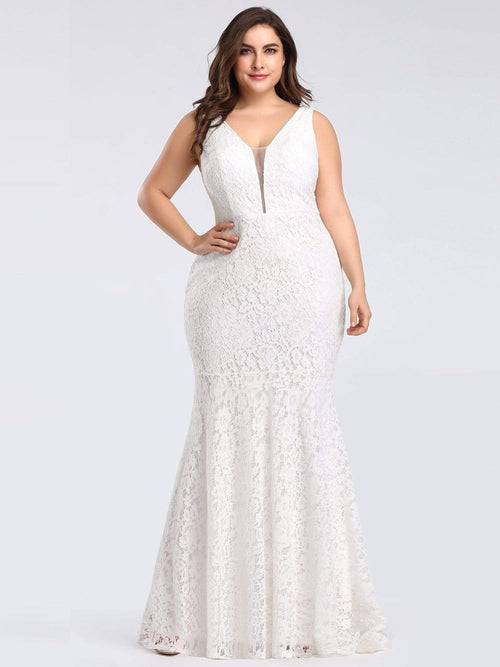 Heatherly full lace V neck wedding dress in ivory 24, 26, 28-Bay Bridesmaid