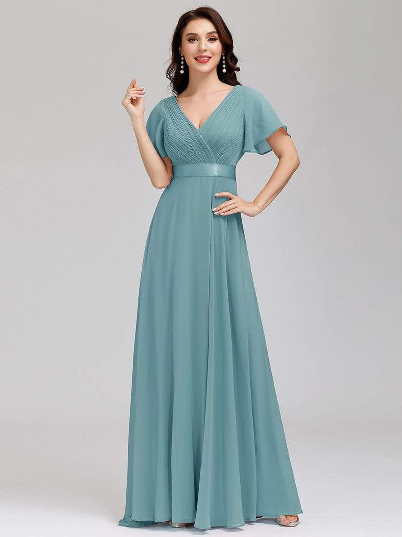 Billie flutter sleeve bridesmaid dress in dusky blue s20 Express NZ wide!