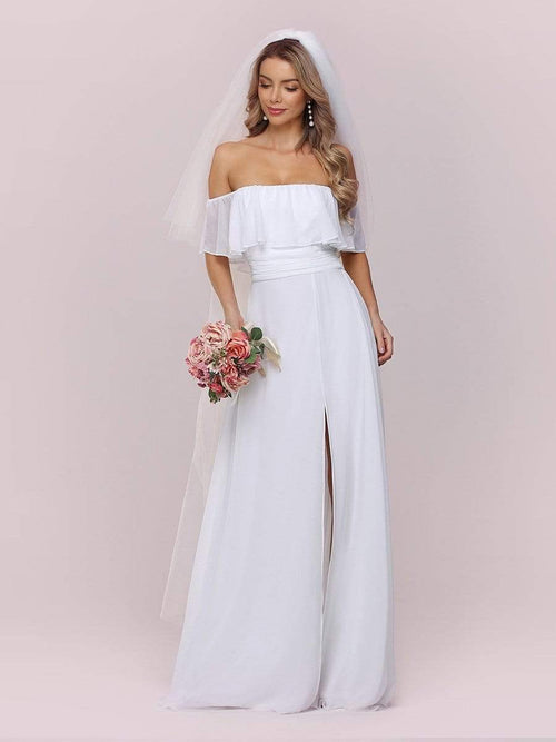 Angelina off shoulder wedding dress with split in white
