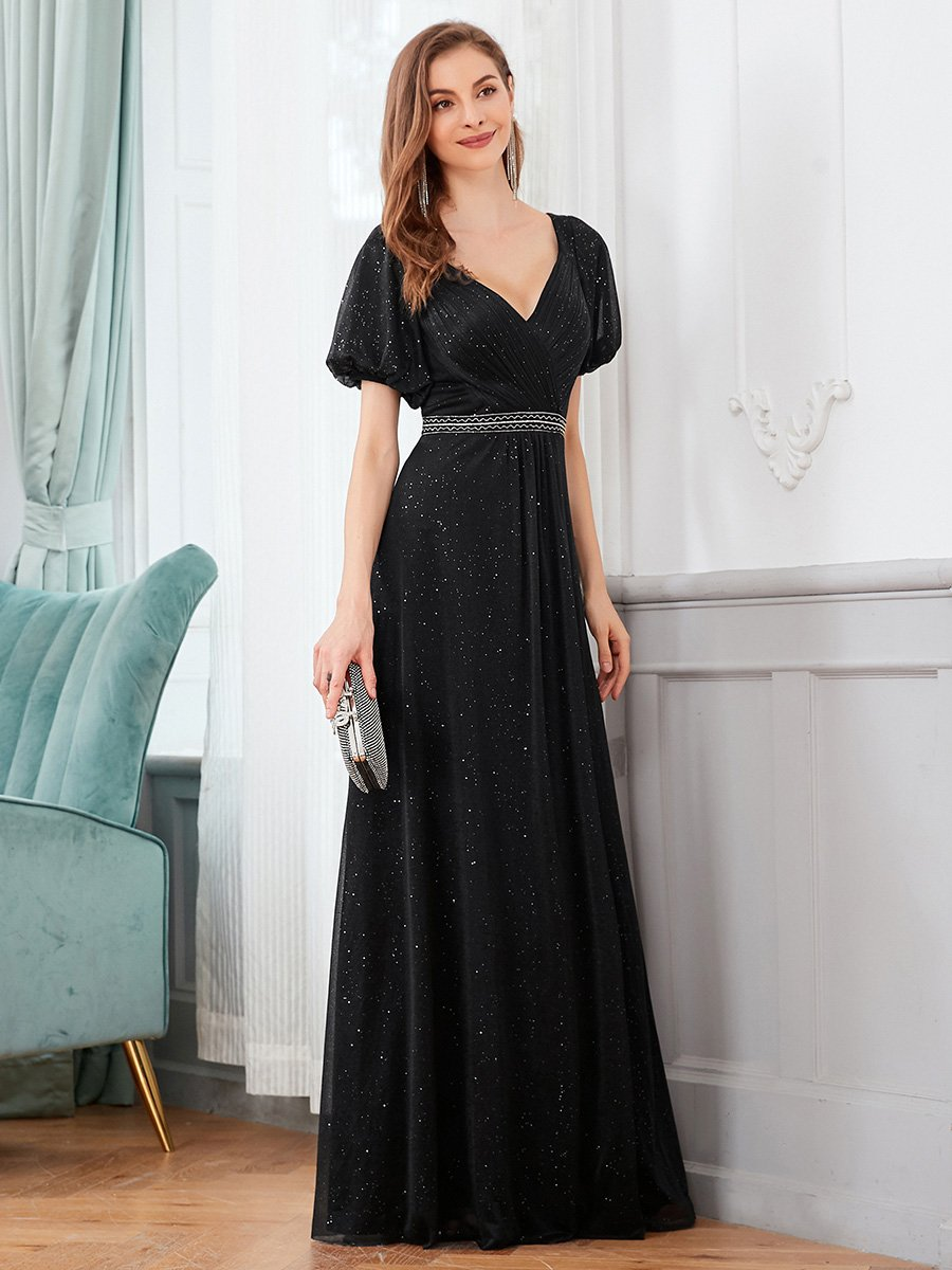 Wanda sparkling ball or evening dress in black-Bay Bridesmaid