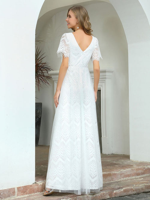 Daphne V neck boho lace wedding dress in ivory s14, s16, s18-Bay Bridesmaid