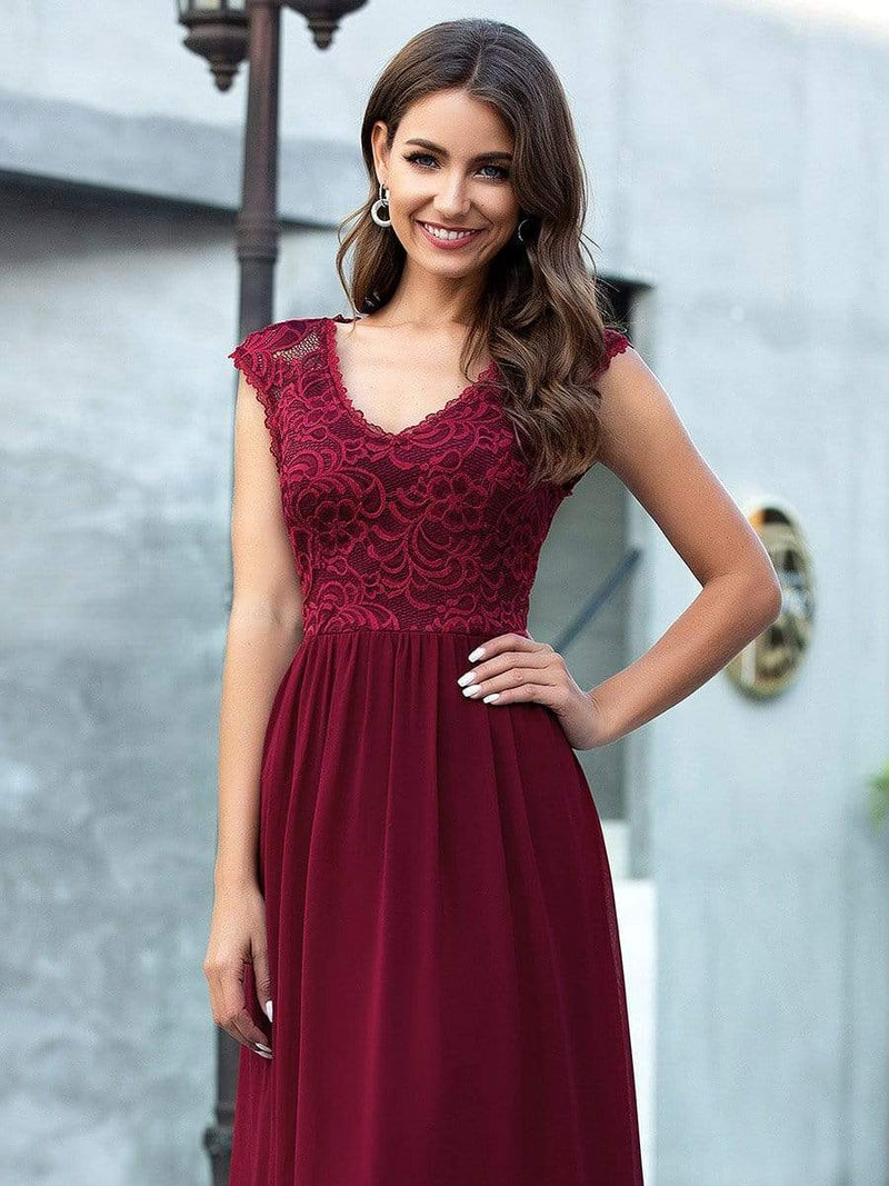 Katherine sleeveless chiffon gown with lace bodice in burgundy s10 Express NZ wide!