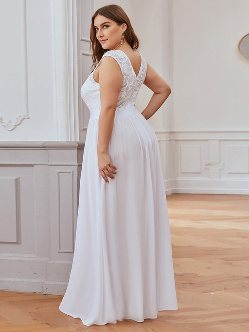Sherrine chiffon and lace round neck wedding dress in white