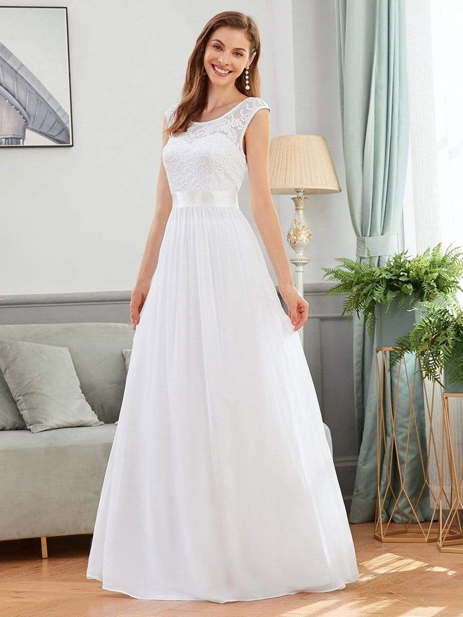 Sherrine chiffon and lace round neck wedding dress in white-Bay Bridesmaid
