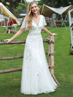 Sally tulle leaf pattern dress with sequins in white