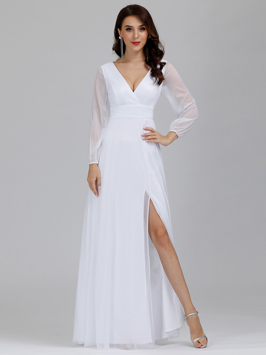Teresa sleeved v neck with side split wedding dress in white-Bay Bridesmaid
