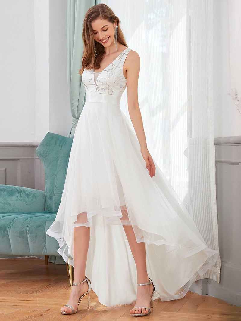 Loretta tulle high low wedding dress with train in Ivory