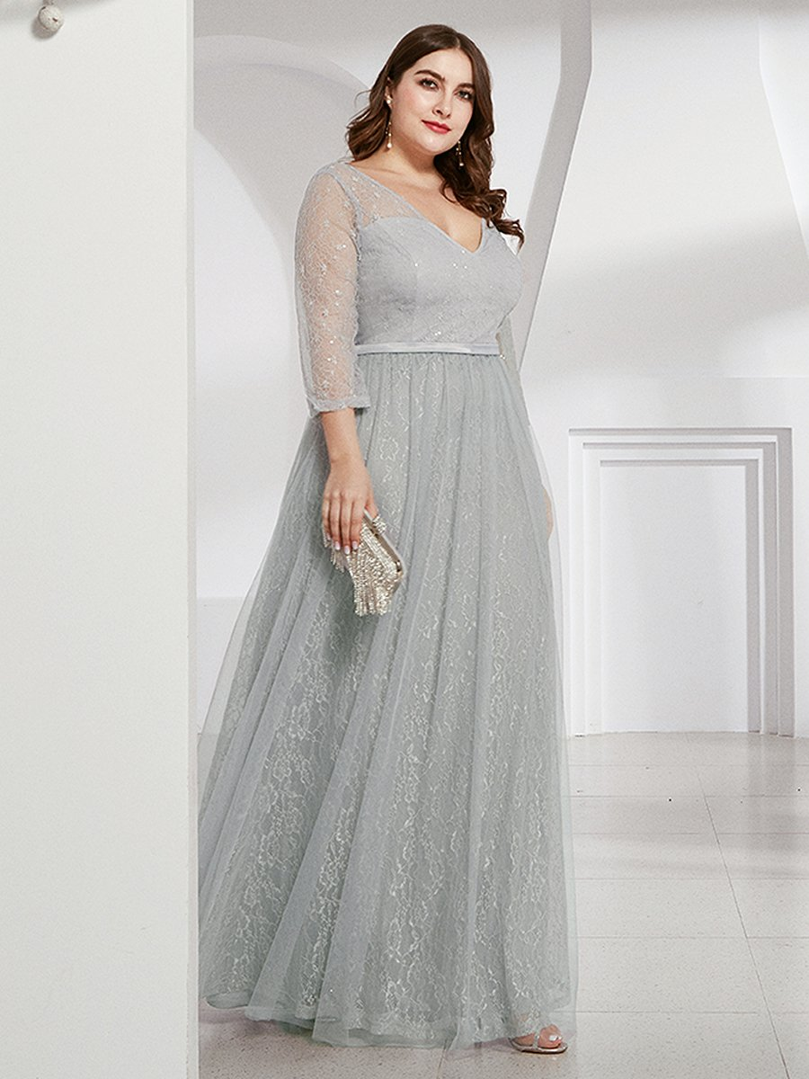 Brigette half sleeve tulle and lace bridesmaid dress in grey s10-Bay Bridesmaid