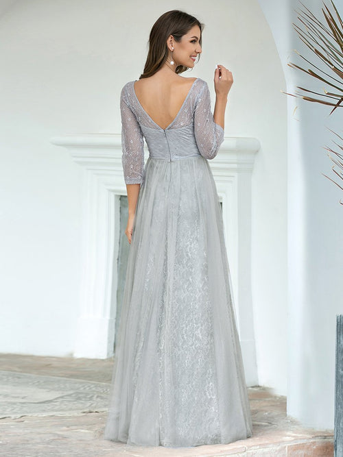 Brigette half sleeve tulle and lace bridesmaid dress in grey
