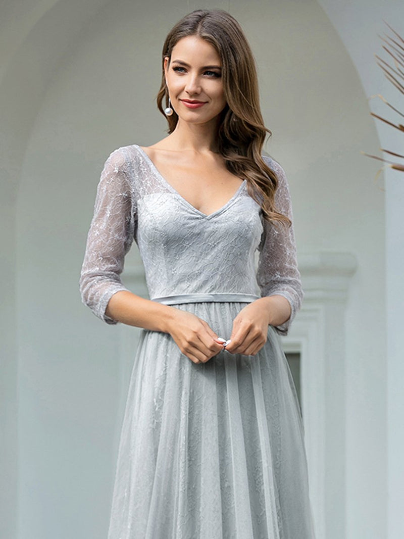 Brigette half sleeve tulle and lace bridesmaid dress in grey s10 Express NZ wide!