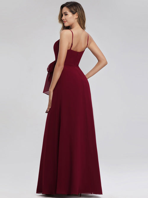 Aubree thin strap A-line bridesmaid dress with tie in burgundy s8-Bay Bridesmaid