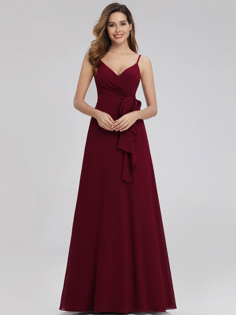 Aubree thin strap A-line ball dress with tie in burgundy Express NZ wide!