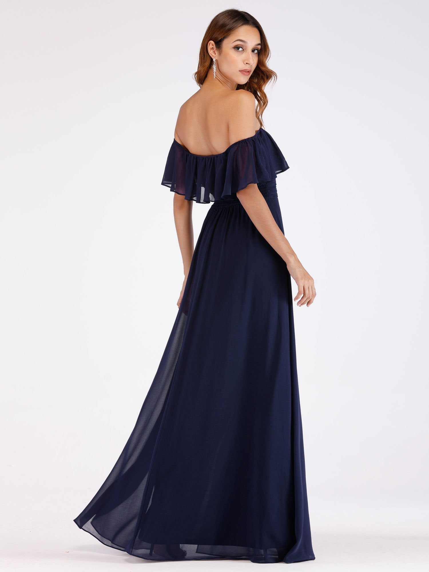Angelina off shoulder bridesmaid dress with split in navy blue s22-Bay Bridesmaid