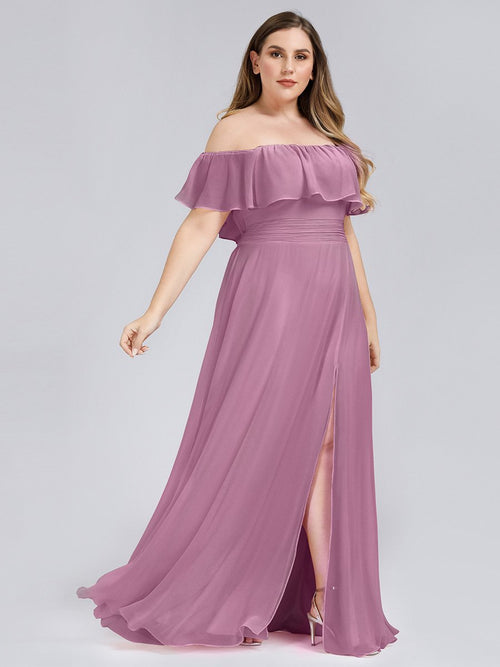 Angelina off shoulder bridesmaid dress with split in dusky rose s16-Bay Bridesmaid