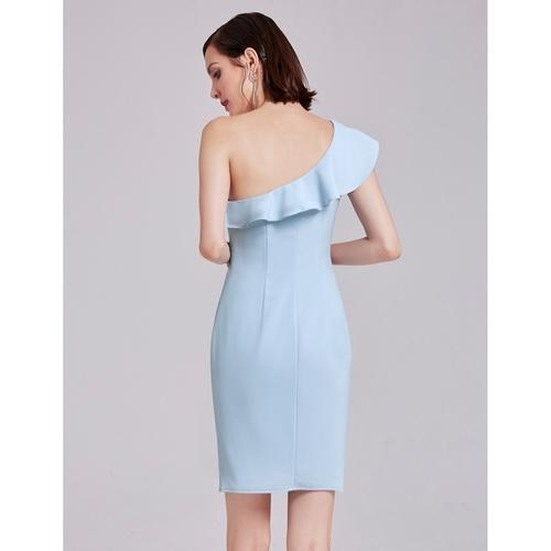 Bellerose wedding guest short length dress in light blue s10-Bay Bridesmaid
