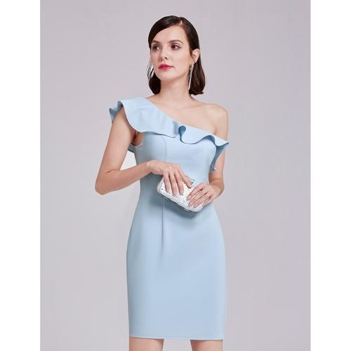Bellerose wedding guest short length dress in light blue s12-Bay Bridesmaid