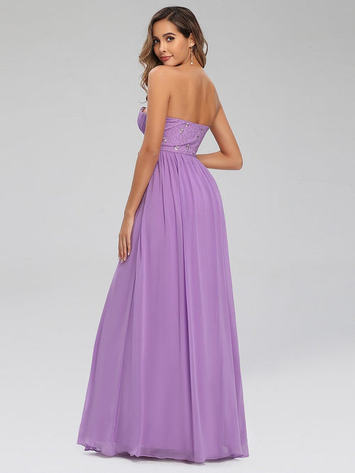 Lacey strapless chiffon ball dress in lilac purple s10-Bay Bridesmaid