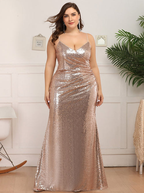 Dawn spaghetti strap sequin ball or bridesmaid dress in rose gold s14-Bay Bridesmaid