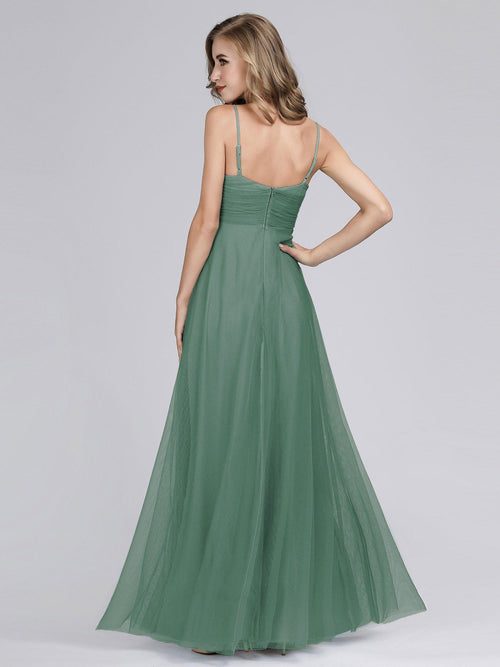 Mali spaghetti strap tulle bridesmaid dress in dusky green s6-Bay Bridesmaid