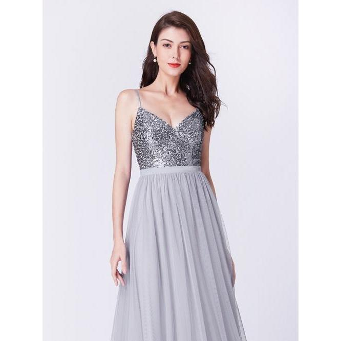 Abella spaghetti strap ball gown in silver grey s8 Express NZ wide!