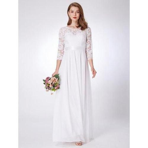 Pricilla sleeved lace and chiffon plus size wedding dress in white-Bay Bridesmaid