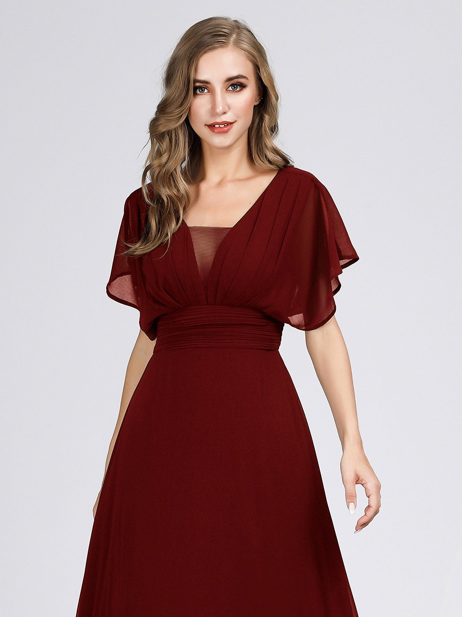 Casey short sleeve chiffon bridesmaid or ball dress in burgundy s10, s18-Bay Bridesmaid