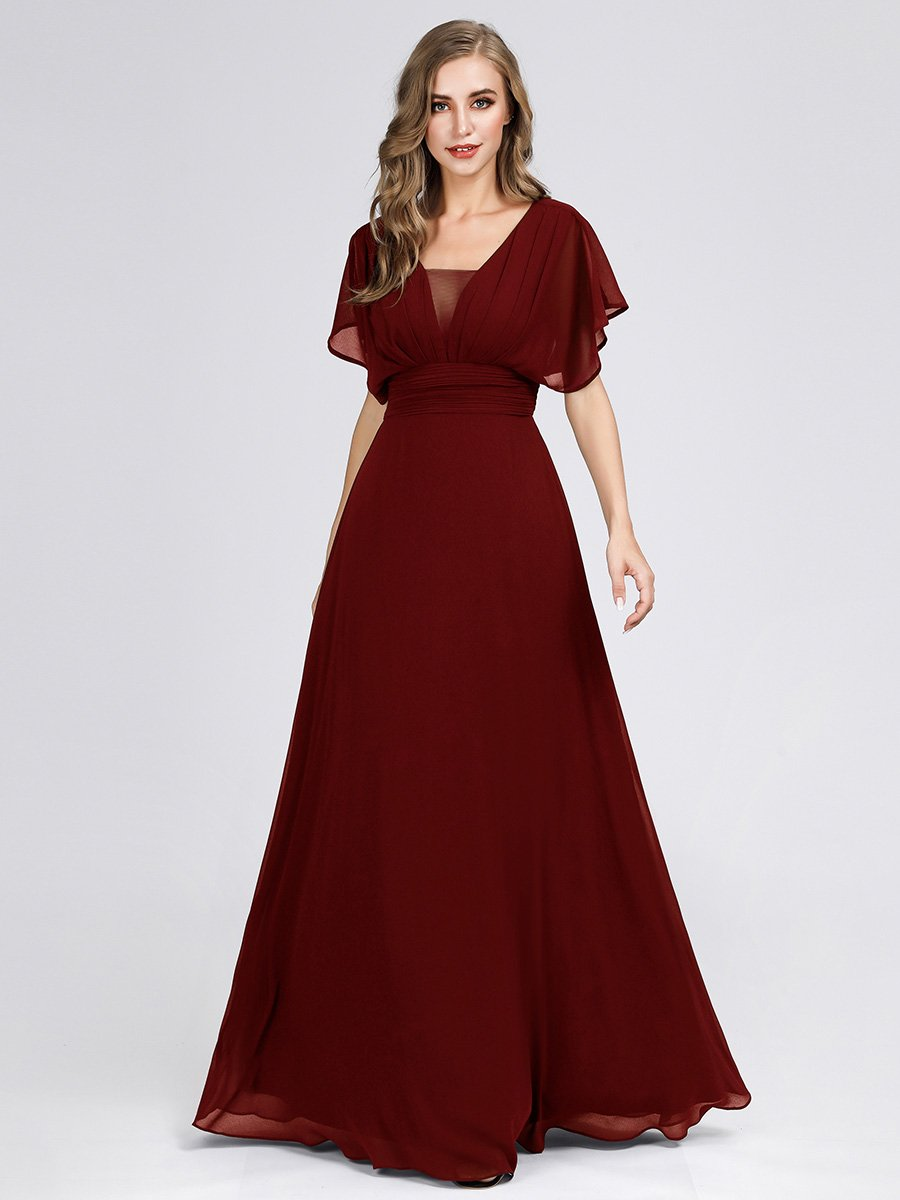 Casey short sleeve chiffon bridesmaid or ball dress in burgundy s18 Express NZ wide!