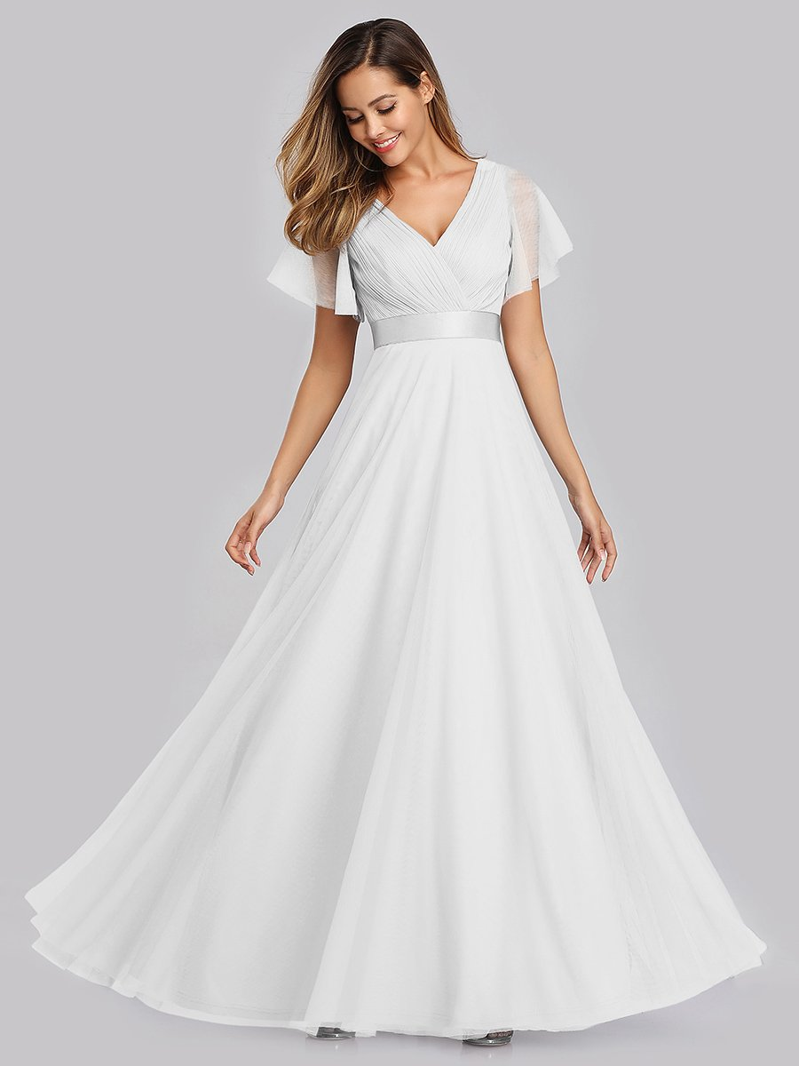 Alma flutter sleeve tulle wedding gown in white