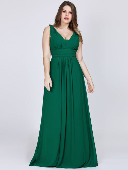 Ayla V neck sleeveless chiffon bridesmaid gown in emerald green-Bay Bridesmaid