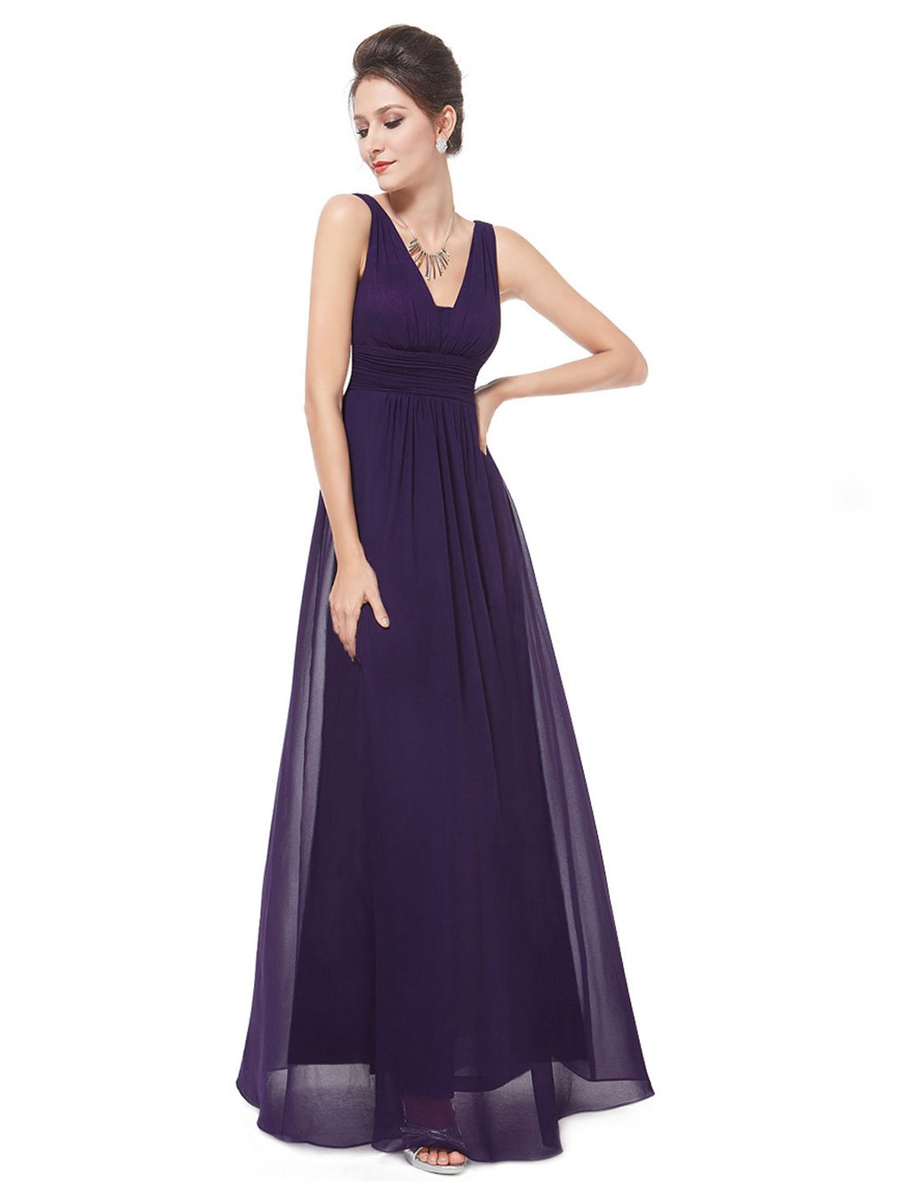 Ayla V neck chiffon bridesmaid gown in dark purple s10 Express NZ wide!