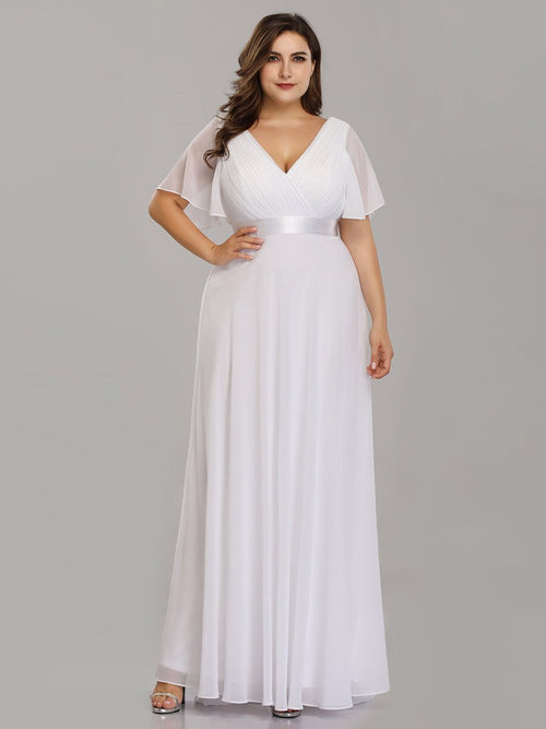 Billie flutter sleeve white chiffon wedding dress s10, s20, s22, s24, s26-Bay Bridesmaid