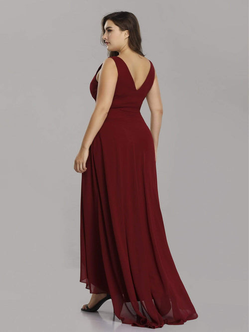 Jaylynn high low chiffon bridesmaid or ball dress in burgundy red-Bay Bridesmaid