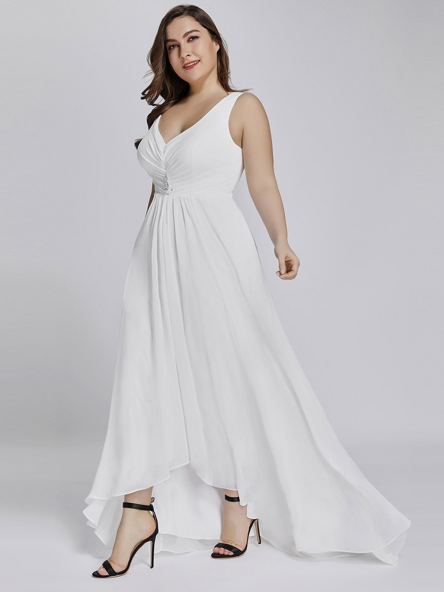 Jaylynn High Low chiffon wedding gown in white