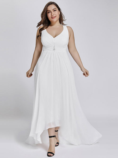 Jaylynn High Low chiffon wedding gown in white-Bay Bridesmaid