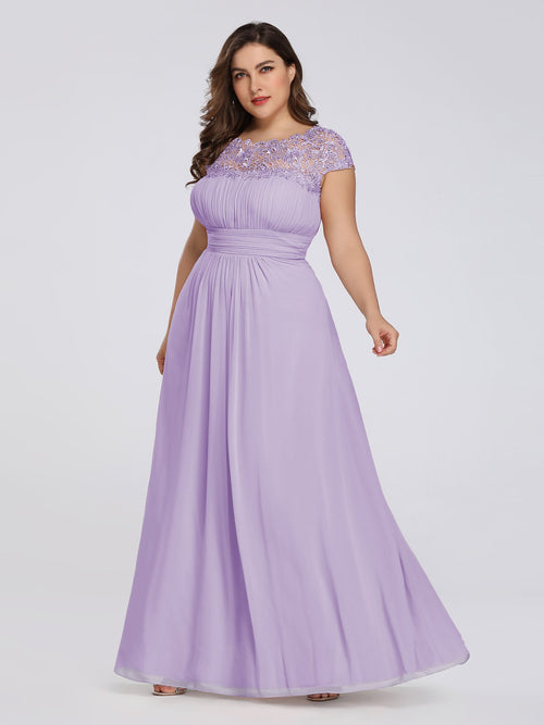 Allanah lace and chiffon bridesmaid dress in lilac s18-Bay Bridesmaid