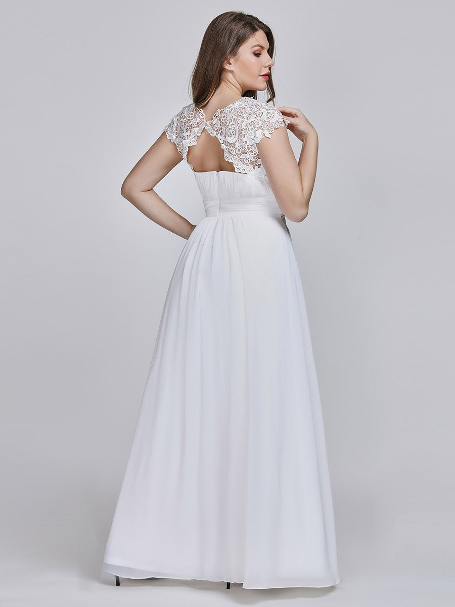 Allanah chiffon and lace wedding dress in white Express NZ wide!