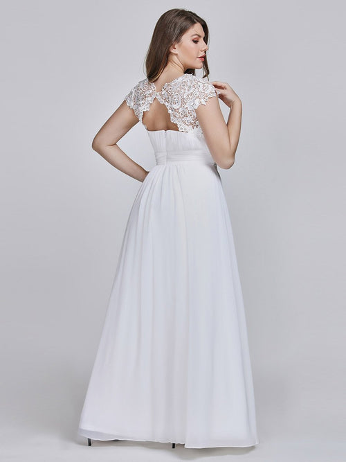 Allanah chiffon and lace wedding dress in white s6, s14, s18, s20, s22, s24-Bay Bridesmaid