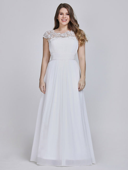 Allanah chiffon and lace wedding dress in white s6, s14, s20, s22, s24-Bay Bridesmaid