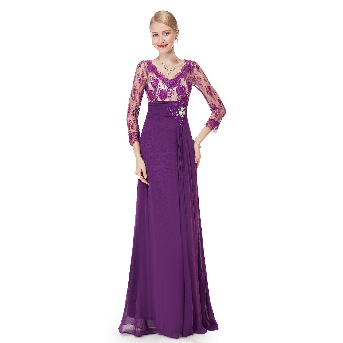 Beautiful chiffon and lace mother of the bride dress s8-Bay Bridesmaid