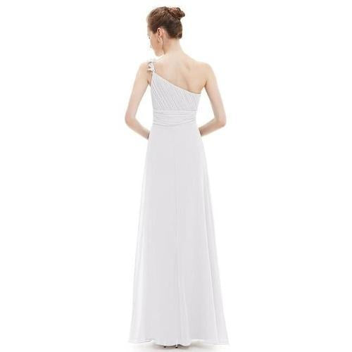 Jolia one shoulder chiffon wedding dress in white s8-Bay Bridesmaid