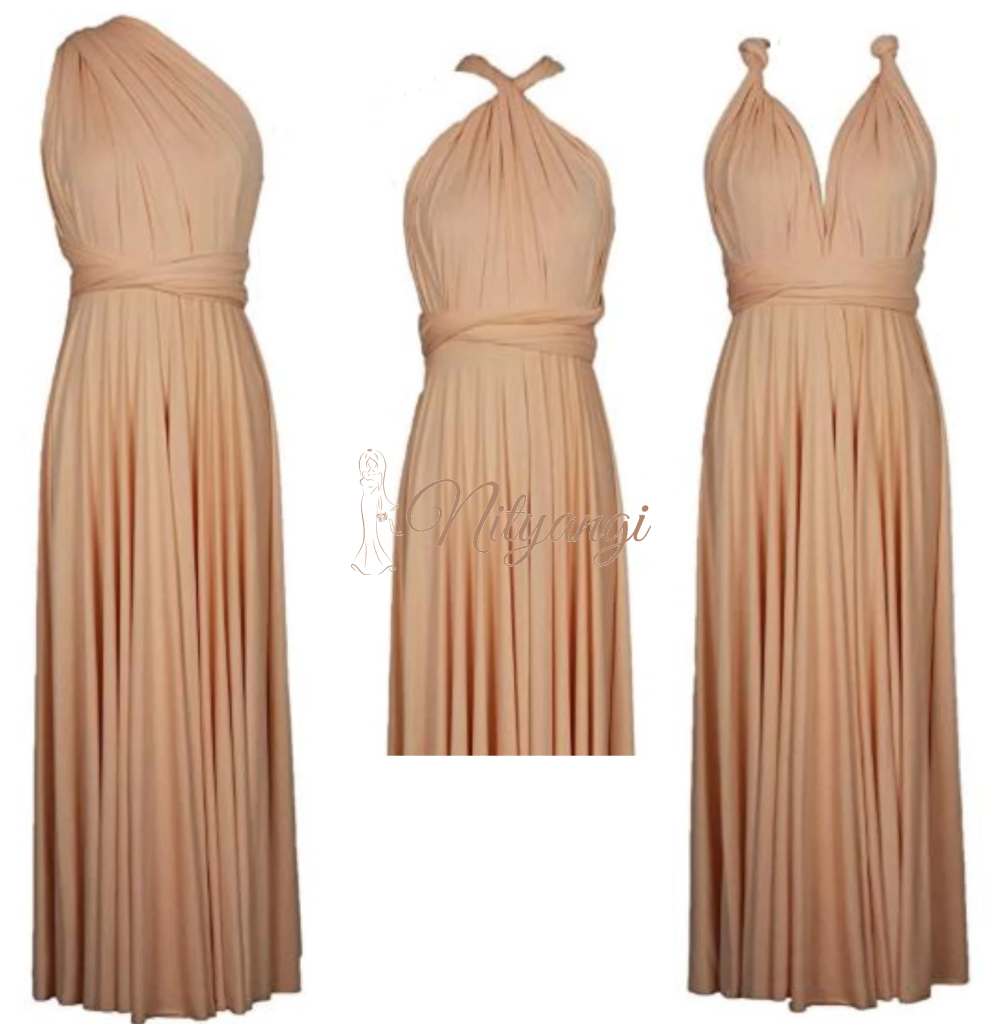 Pearl Peach Convertible Infinity bridesmaid dress-Bay Bridesmaid