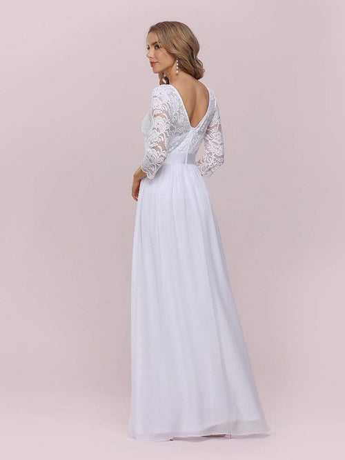 Pricilla lace and chiffon wedding dress in white