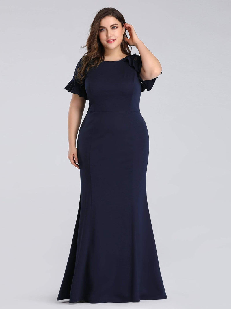Colleen short sleeve plus size dress in navy blue s18