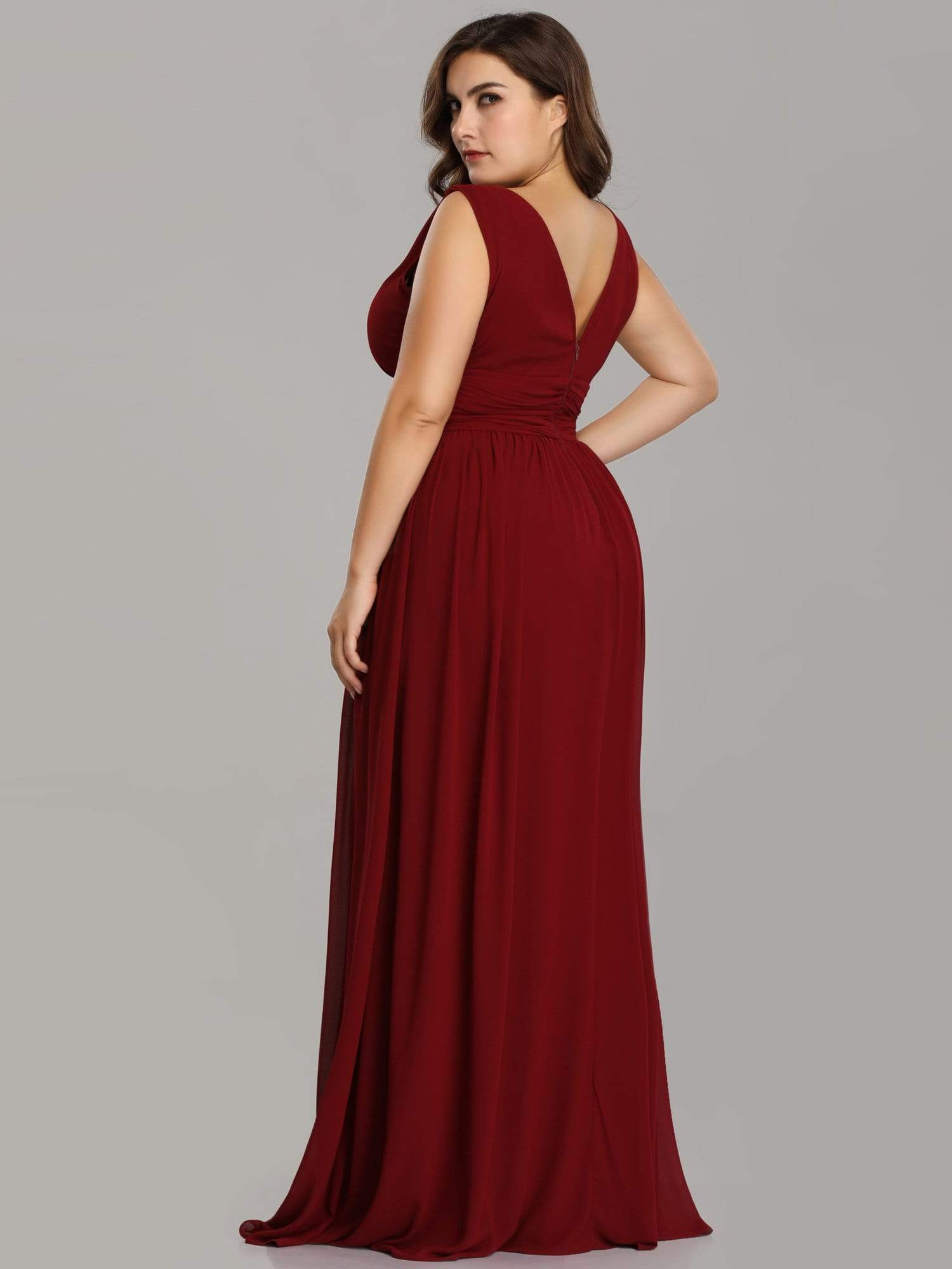 Veda V neck and back classic chiffon bridesmaid dress in burgundy
