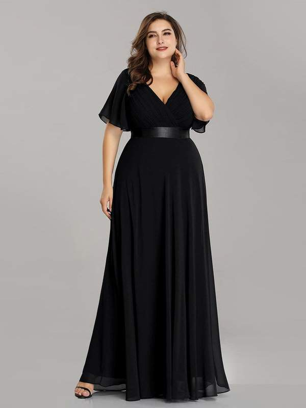 Billie chiffon Ball Dress in Black s6 Express NZ wide!