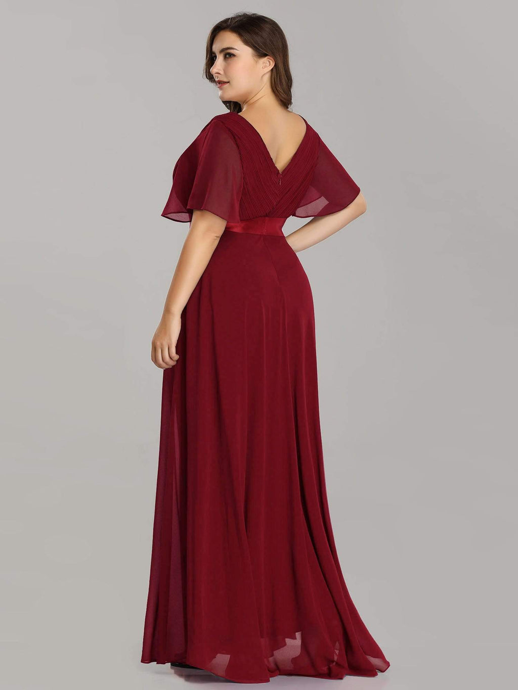 Billie flutter sleeve chiffon ball dress in burgundy red Express NZ wide!