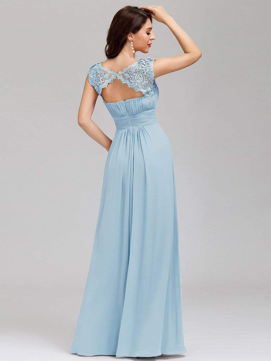 Allanah cap sleeve lace and chiffon bridesmaid dress in light blue Express NZ wide!